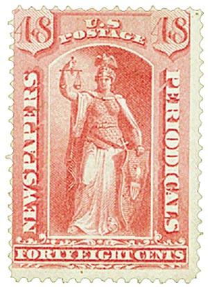 1875 48c ros, thin hard paper