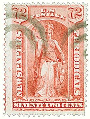 1875 72c ros, thin hard paper