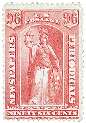 1875 96c ros, thin hard paper