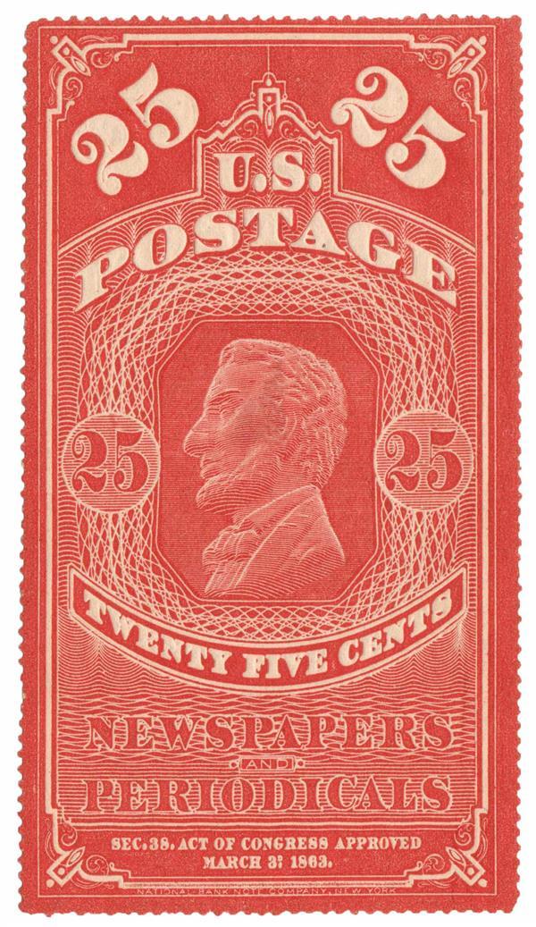 1865 25c org red, hard paper, no gum