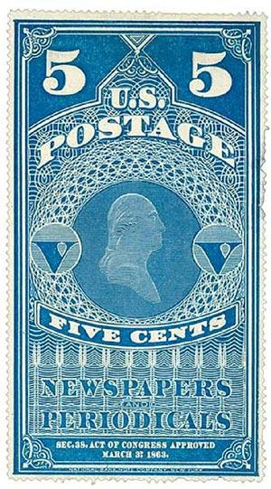 1865 5c lt bl, unwmk, yel paper