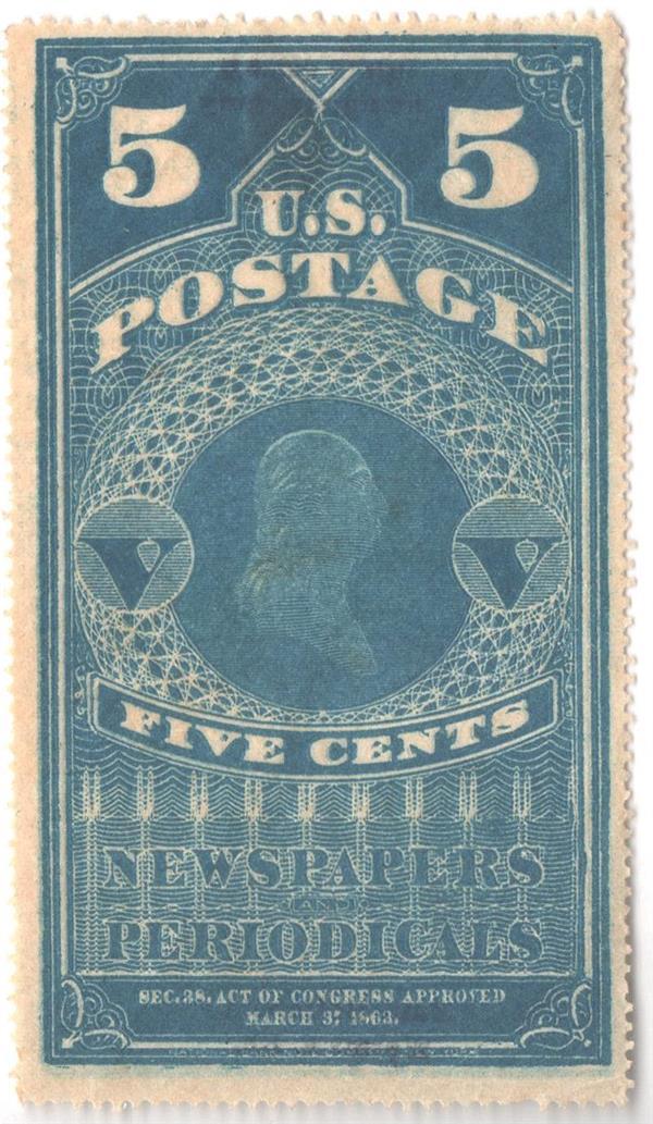 1865 5c Washington, pelure paper