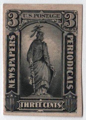 1879 3c deep black on card