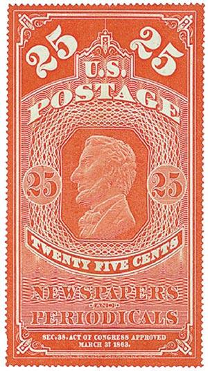 1875 25c dk car, hard paper, no gum