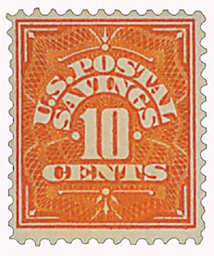 1911 10c Postal Savings, orange, watermark