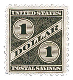1940 $1 Postal Savings, gray black, unwatermarked