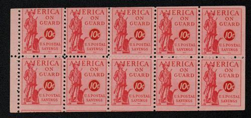 1941 10c Postal Savings booklet pane of 10, rose red, perforated horizontal edges
