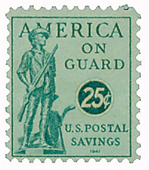 1941 25c Postal Savings, blue green, unwatermarked