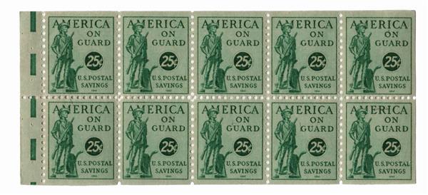 1941 25c Postal Savings booklet stamp, blue green