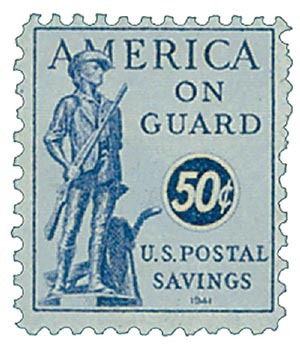 1941 50c Postal Savings, ultramarine, unwatermarked