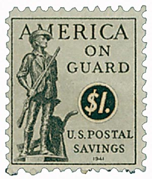1941 $1 Postal Savings, gray black, unwatermarked