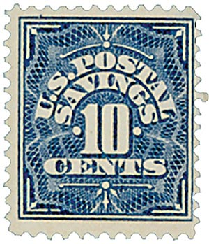 1911 10c Postal Savings, deep blue, watermark