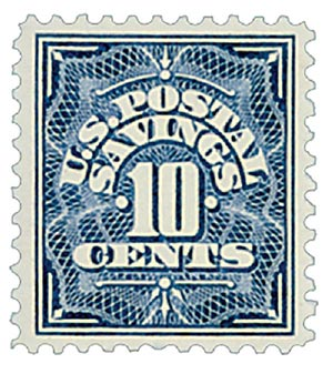 1936 10c Postal Savings, deep blue, unwatermarked