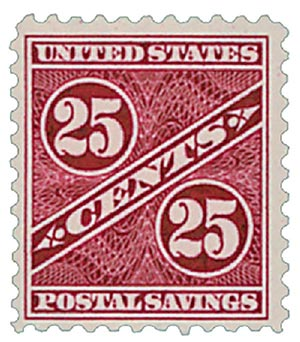 1940 25c Postal Savings, dark carmine rose, unwatermarked