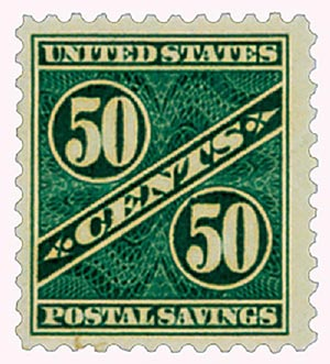 1940 50c Postal Savings, dark blue green, unwatermarked