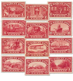 1913 Parcel Post Stamps 12v