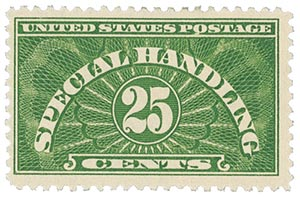 1928 Special Handling 25c, yellow green