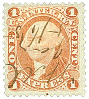 1862-71 1c red, express, old paper