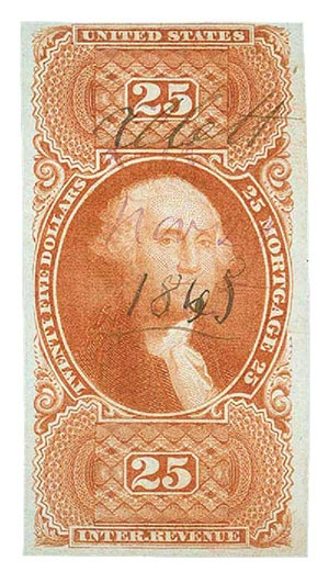 1862-71 $25 red, mortgage, imperf