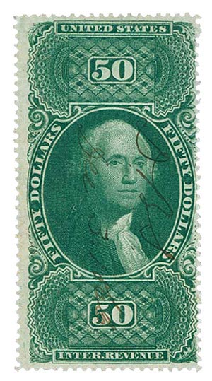 1862-71 $50 green, Internal Revenue Stamp, Old paper