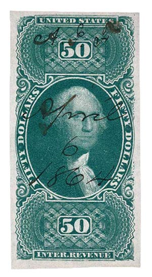 1862-71 $50 grn, Int Rev, imperf