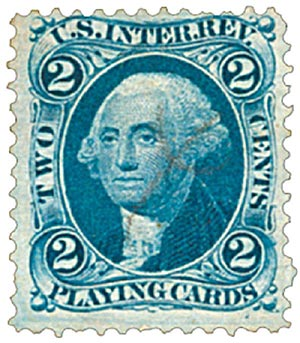 1862-71 2c bl, play cards, old paper