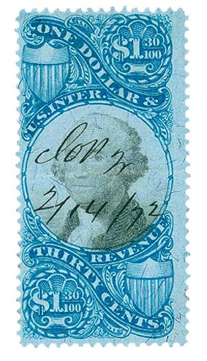 1871 $1.30 bl, blk, revenue
