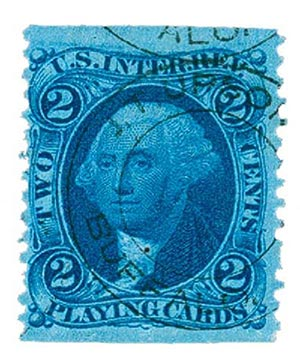 1862-71 2c bl, play. cards, part perf