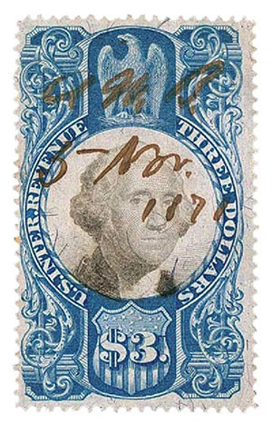 1871 $3 bl, blk, revenue