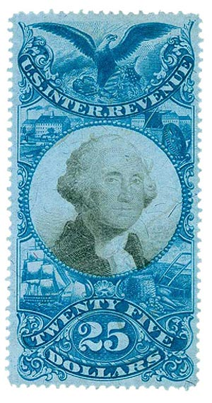 1871 $25 bl, blk, revenue