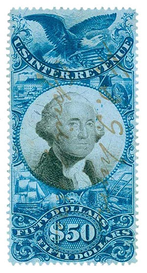 1871 $50 bl, blk, revenue