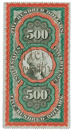 1871 $500 red org,grn,blk, revenue