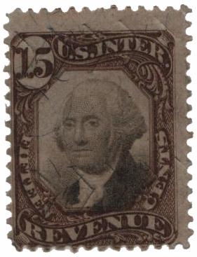 1872 15c brn, blk, revenue