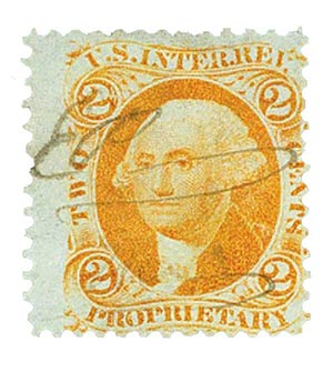 1862-71 2c org, proprietary,old paper