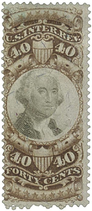 1872 40c brn, blk, revenue