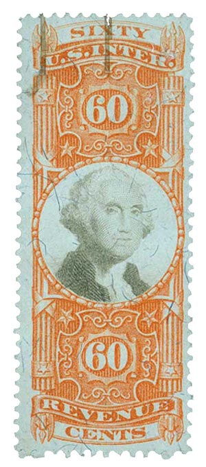 1872 60c org, blk, revenue