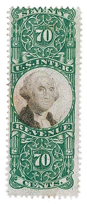 1872 70c grn, blk, revenue