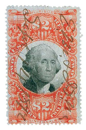 1872 $2 ver, blk, revenue