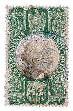 1872 $3 grn, blk, revenue