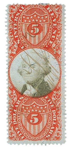 1872 $5 ver, blk, revenue