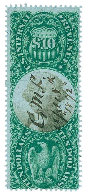 1872 $10 grn, blk, revenue