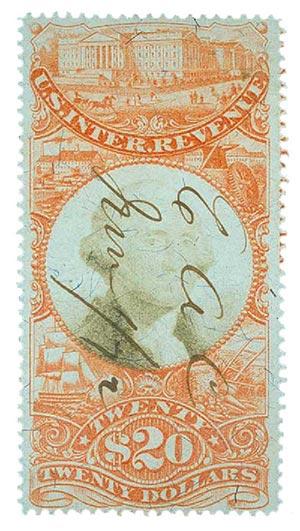 1872 $20 orange & black
