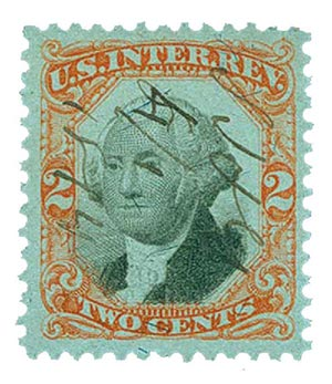 1874 2c org, blk, revenue