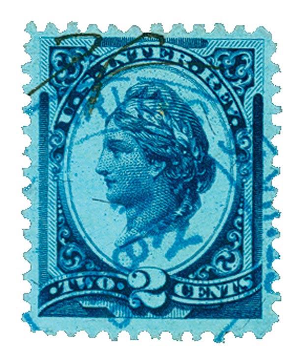 1875-78 2c blue, silk paper