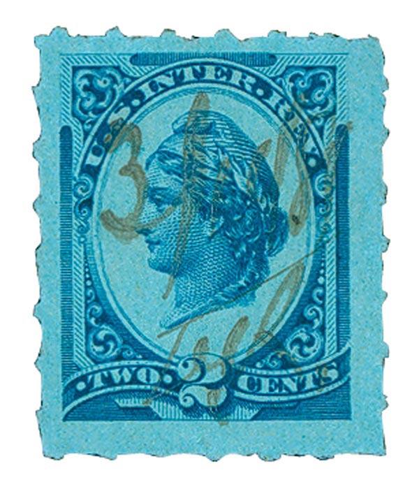 1878 2c blue, blue, dl wmk, roulette