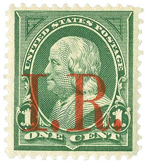 1898 1c grn, red IR ovprnt, type b
