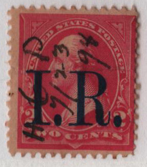 1898 2c carmine, type IV, blue overprint