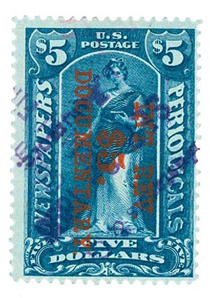 1898 $5 Dark Blue, Overprint Reading Down, Perf 12