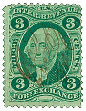 1862-71 3c grn, forn exchg,old paper