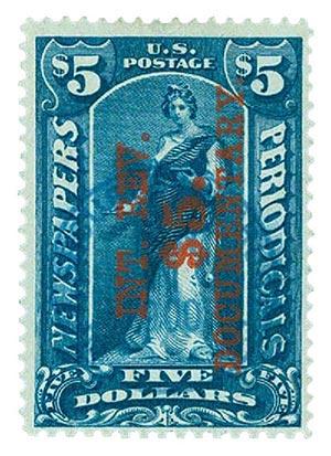 1898 $5 Dark Blue, Red Overprint, Perf 12